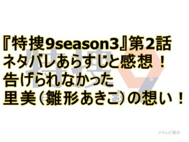 『特捜9season3』第2話ネタバレあらすじと感想!告げられなかった里美(雛形あきこ)の想い!